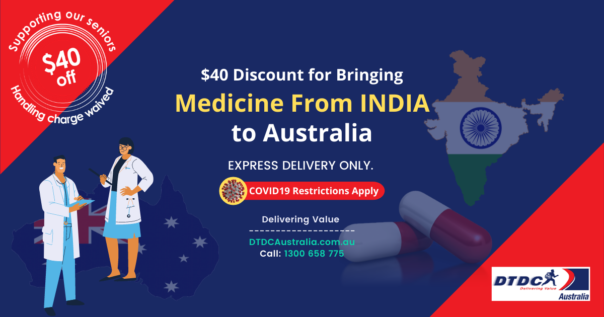MEDICATION FROM INDIA TO AUSTRALIA: $40 HANDLING FEE WAIVED